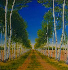 Visser, Jim | Aspen Lane | oil on canvasTo view this artwork visit us on the Lower Level of your AGA at 2 Sir Winston Churchill Square, Edmonton, Alberta, T5J 2C1 http://www.youraga.ca/artrental | #yegart #yegarts #landscape #albertaart