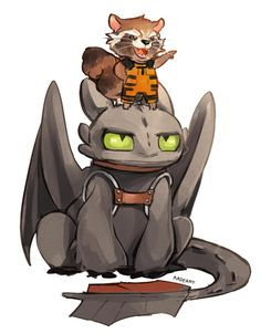 Crossover with Guardians of the Galaxy ... How to train your dragon, toothless, night fury, dragon, crossover, rocket raccoon, guardians of the galaxy