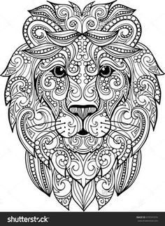 Lion Coloring Pages, Mandala Coloring Pages, Printable Coloring Pages, Coloring Books, Doodle Coloring, Coloring Sheets, Lion Head Drawing, Book Drawing, Drawing Ideas