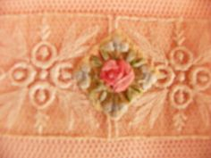 Large Vintage Pale Peach Lace and Ribbonwork Hankie Holder with Silk Ribbon