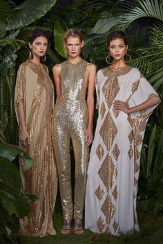 Naeem Khan Resort 2016: Exotic caftans flanking a sexy glam sequin jumpsuit!