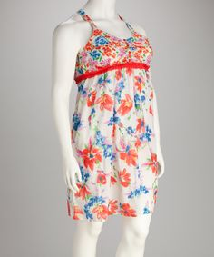 Maybe as a swimdress?  Red & Blue Floral Plus-Size Dress