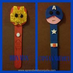 Los vengadores: Marionetas DIY con palitos de helado (Thor, Hulk, Iron Man, Capitán América) Manualidad para niños The Avengers