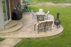 new ideas for backyard layout patio stamped concrete Backyard Layout, Backyard Plan, Backyard Patio Designs, Backyard Landscaping, Patio Steps, Cement Patio, Concrete Backyard, Concrete Patios, Outside Patio