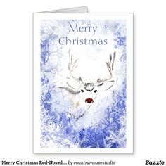 Merry Christmas Red-Nosed Reindeer Frosty Window Greeting Card