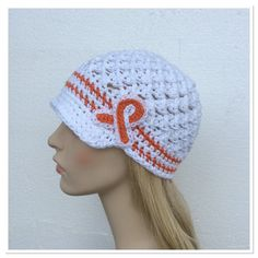 Crochet Leukemia Cancer hat , with cancer logo. This crochet cap is white with orange trim. Comfortable while going thru treatments. Light and Airy…