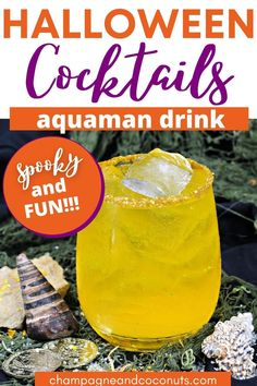 The Golden Trident Cocktail takes its inspiration from Aquaman himself. Made with spiced rum, tequila, and triple sec along with a few more yummy ingredients, it packs a flavorful punch that's perfect to serve for Halloween parties and Super Hero movie watching parties!  Reminiscent of the trident's color, this drink tastes delicious!  #Aquaman #DC #cocktails #goldentrident #tequila #spicedrum #triplesec #Halloween Halloween Cocktails, Halloween Parties, Halloween Themes, New Aquaman, Pumpkin Juice, Cocktail And Mocktail, Triple Sec, Spiced Rum, Fantastic Beasts And Where