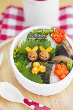 Mini piggies bento #cute #food