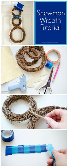DIY Snowman wreath tutorial craft idea