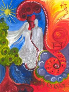 Woman and man prophetic art painting. Ruth - what a special woman & God had a plan just for her - He worked all things out for good in her life & she chose to follow Him.
