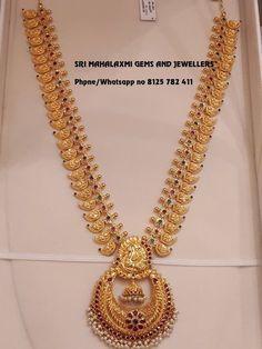 Pin By Jyostna On Imitation Jwellari In 2019 Tejidos – Jewelry Real Gold Jewelry, Gold Jewelry Simple, Gold Wedding Jewelry, Gold Jewellery Design, Bridal Jewelry, Mango Mala Jewellery, Temple Jewellery, Gold Haram, Mango Necklace