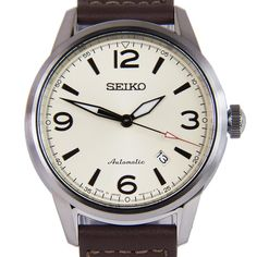 Chronograph-Divers.com - Seiko Japan Presage Automatic Biege Dial Brown Leather Strap Mens Watch SRPB03J1 SRPB03, $203.00 (https://www.chronograph-divers.com/seiko-japan-presage-automatic-biege-dial-brown-leather-strap-mens-watch-srpb03j1-srpb03/)