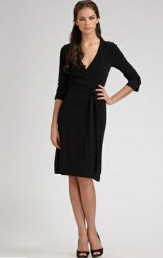 Dvf Dresses Plus Size Classic black wrap dress by