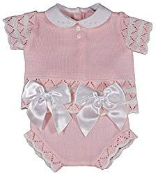 f5cbc6052 Baby Girl Bows Spanish Knitted Summer Outfit jam Pants Knickers top 3-9  Months Pink