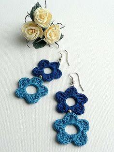 Sidney Artesanato: Brincos de Crochet um luxo... sidneyartesanato.blogspot.com.es