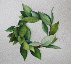 кантри -Fighting this week-Paper: Saunders waterford. Wreath Watercolor, Watercolor Leaves, Watercolor Drawing, Watercolor Cards, Watercolor Print, Watercolor Illustration, Painting & Drawing, Art Floral, Fleurs Art Nouveau