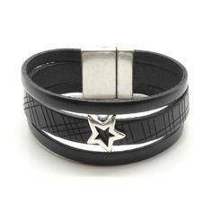 Bracelet cuir 3 rangs noir et étoile - r431