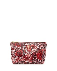 Floral Small Slouchy Cosmetic Bag, Kyoto Red by Tory Burch at Neiman Marcus.