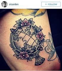 Resultado de imagem para old school tattoo earth                                                                                                                                                                                 More