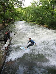 Surfing in Munich, Germany