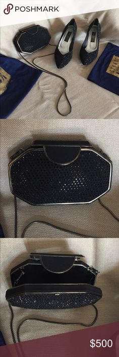 """STUART WEITZMAN HEELS Black sequined 3"""" heels, EUC, I was told any missing stones can be replaced by STUART WEITZMAN. A few are missing but unnoticeable. Dust cloths included. Stuart Weitzman Shoes Heels"""