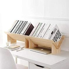 Amazon.com: HomeSto Solid Wood Assembled Bookshelf on Desk Landing Small Bookcase Student Desktop Shelf Simple: Home & Kitchen
