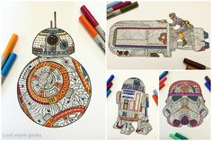 Printable Star Wars Force Awakens zentangle coloring pages : Rey, BB-8, R2D2, Darth Vader and more. So cool!
