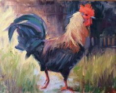 Plein Air Chicken Rooster Farm Ranch Eggs Cows 8x10 Day Oil Painting A Day #Impressionism