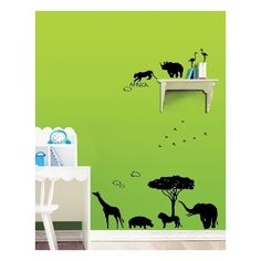 Muursticker met een aantal dieren van de Afrikaanse safari. Leuk voor op de kinderkamer!