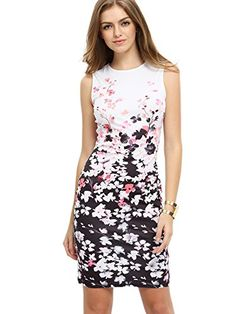 74f505db5ed Floerns Women s Floral Print Sleeveless Split Cocktail Party Bodycon Dress   17.99 Casual Dresses For Women