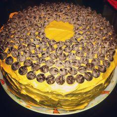 Whole-wheat banana cake with peanut butter-Greek yogurt frosting
