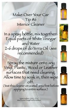 Turn your #essentialoils into powerful car interior cleaner with mixed with just #vinegarandwater.  #NoChemcial, #NoHarshfumes.  Just the #wholesome #pureEssentialOils.   #powerofessentialoils #askmemore www.fb.com/changefromtheinsideout