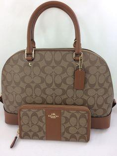 653621ee61bd20 New COACH f58287 Sierra Dome Satchel Handbag Purse Shoulde Bag  Khaki Saddle+ Wallet Set
