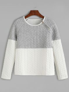 Shop Color Block Zipper Trim Embossed Sweatshirt online. SheIn offers Color Block Zipper Trim Embossed Sweatshirt & more to fit your fashionable needs.