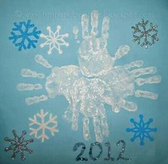 Handprint And Footprint Arts Crafts Snowflake Art Adding A Few More Snowflakes Looks Great