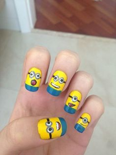 Stickers Of Minion Nail Art Design Nail Art Chic, Funky Nail Art, Funky Nails, Easy Nail Art, Cute Nails, Minions, Simple Nail Art Designs, Cute Nail Designs, Minion Nail Art