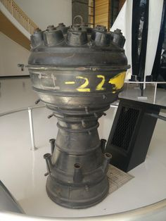 The combustion chamber and nozzle of an engine from a Nazi V-2 rocket.