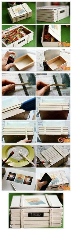 Popsicle sticks box via <a… Popsicle Stick Houses, Popsicle Crafts, Craft Stick Crafts, Wood Crafts, Fun Crafts, Diy And Crafts, Crafts For Kids, Pop Stick, Stick Art