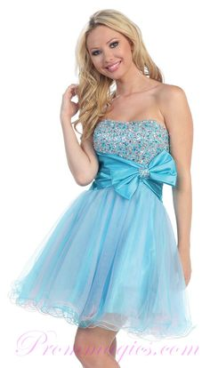 Light blue cocktail dress with bow and sparkles