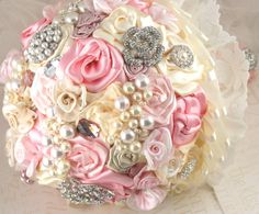 Brooch Bouquet Jeweled Bouquet in Blush Pink and Ivory by SolBijou