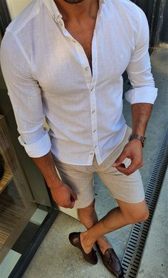 Mens Linen Outfits, White Shirt Outfits, White Shirt Men, New Outfits, Mens Linen Shirts, Smart Casual Outfit, Casual Wear For Men, Mens Clothing Styles, Menswear