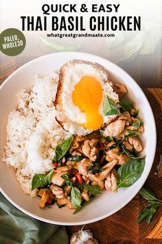 Easy spicy Thai basil chicken! Called Pad Krapow Gai, this is a popular Thai street food. It's so quick to make (just 15 minutes!) and packed with flavor from Thai chilis, Thai holy basil, and fish sauce, with a slight sweetness to balance everything out. Don't forget the fried egg on top for that authentic flavor and experience! Paleo and Whole30 if you serve over cauliflower rice. Basil Recipes, Whole Food Recipes, Dinner Recipes, Healthy Recipes, Thai Basil Chicken, Healthy Weeknight Dinners, Thai Street Food, Spicy Thai, Yum Yum Chicken