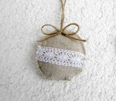 shabby chic Christmas  | Christmas tree ornaments, shabby, chic, eco friendly, linen and lace ...