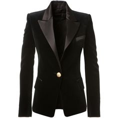 Balmain Black Velvet And Satin Blazer ($2,120) ❤ liked on Polyvore featuring outerwear, jackets, blazers, black satin jacket, velvet blazer, balmain, fitted blazer and black jacket