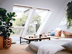 Loft Conversion inspiration to the max. This Living Room features Velux Cabrio balcony windows. When open they create a small balcony area giving you more head height and creating a feeling of space and a connection to the outside. Home, Bedroom Loft, Master Bedroom Inspiration, Comfortable Living Rooms, House Interior, Bedroom Inspirations, Loft Spaces, Loft Conversion Bedroom, Attic Bedroom Designs