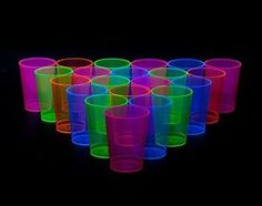 10 Oz Drink 50 Pcs Neon Party Cups Hard Plastic Assorted Blacklight Reactive Fun