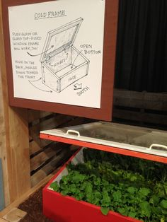 Illustration of a cold frame at our exhibit at the 2014 Chicago Flower and Garden Show #fearlessin14 <== petersongarden.org