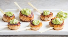 ~ Velvety smooth scallops with beautifully caramelized crust and topped with honey dijon avocado sauce