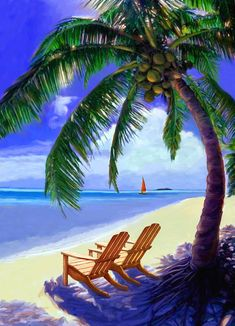 Coconut Palm by David Van Hulst- Coconut Palm by David Van Hulst Beach Scene Painting – Coconut Palm by David Van Hulst - Beach Pictures, Nature Pictures, Beach Scene Painting, Tropical Beaches, Beach Scenes, Tropical Paradise, Beach Art, Vacation Spots, Italy Vacation