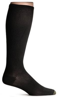 These will take the place of panty-hose or support knee-hi's & work well for women, not just the men. New Gold Toe Support socks ADC Over The Calf firm 160H: 80% Nylon, 20% Lycra - Graduated knit for support. White or black socks with reinforced heel & toe, over the calf length, firm compression. Machine wash warm, tumble dry low. Gold Toe socks are made with the finest yarns & reinforced at the heel & toe for longer, more comfortable wear.
